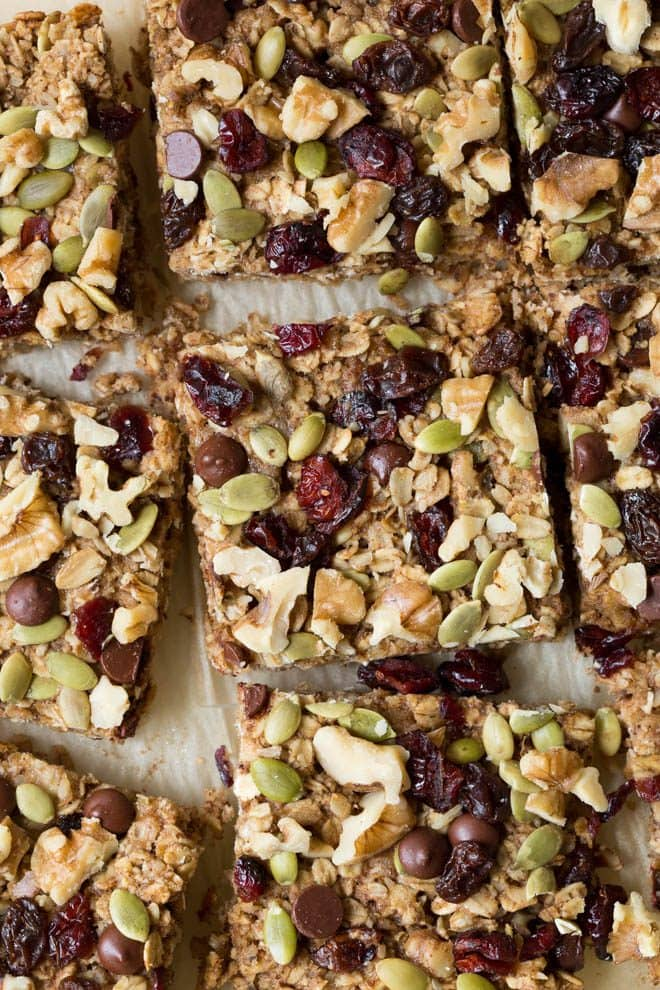 Trail Mix Breakfast Bars are made with a banana-walnut layer mixed together with your favorite trail mix ingredients including chocolate chips, dried fruit, seeds and walnuts! #trailmix #breakfast #bars #healthy #recipe