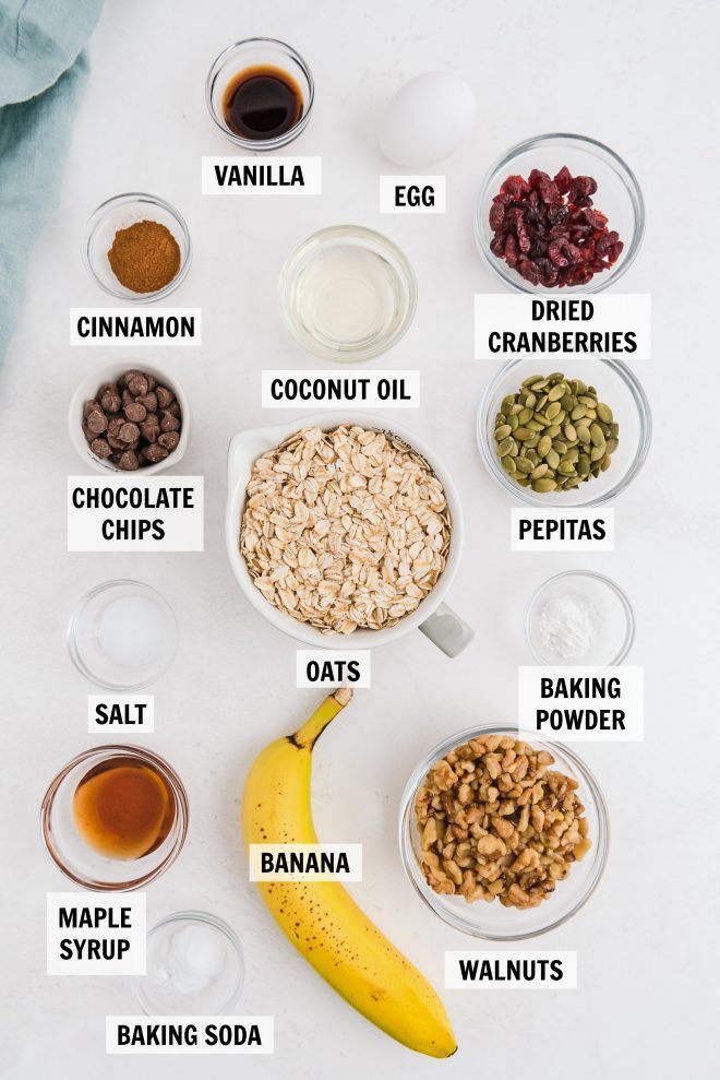 ingredients for trail mix granola breakfast bars