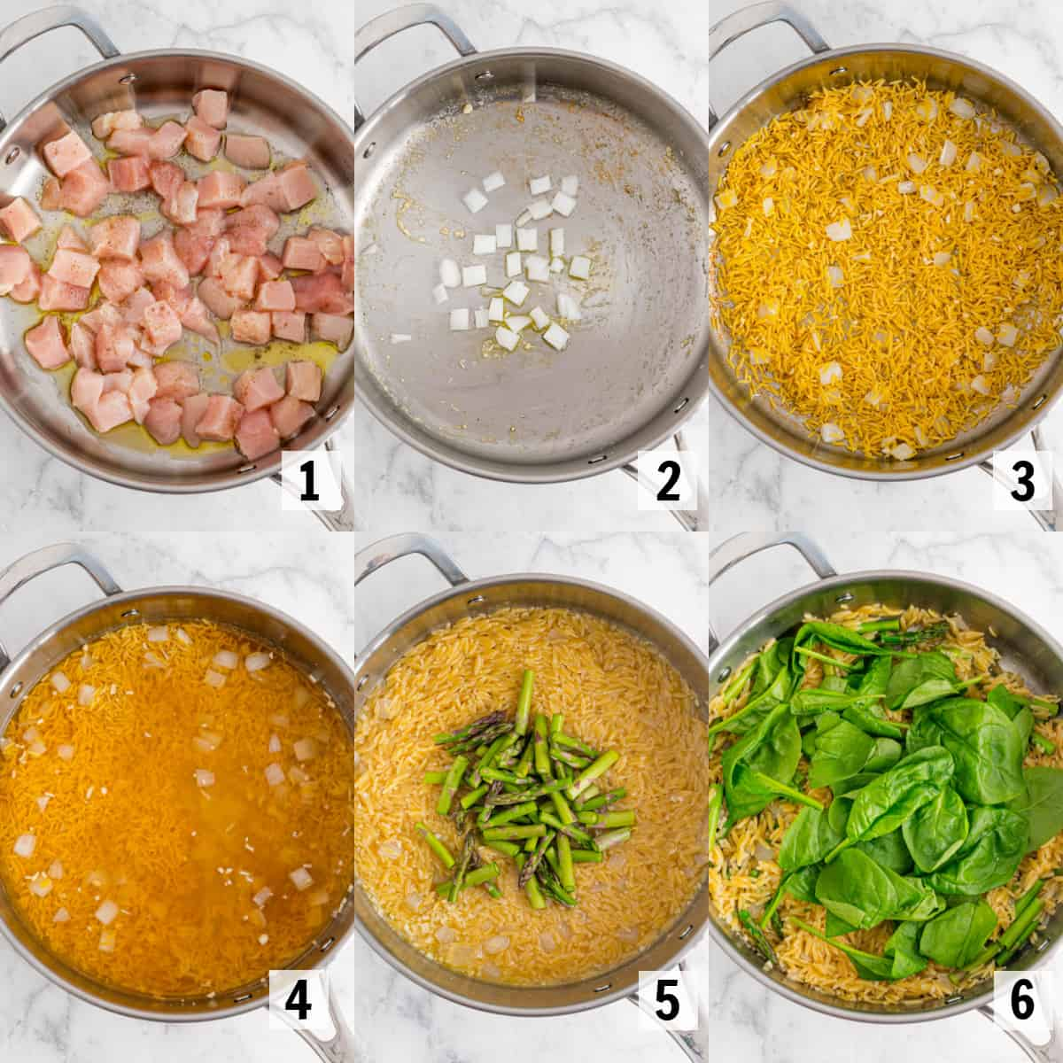 cooking ingredients for lemon chicken orzo in a skillet