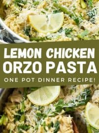 skillet with cooked lemon chicken orzo