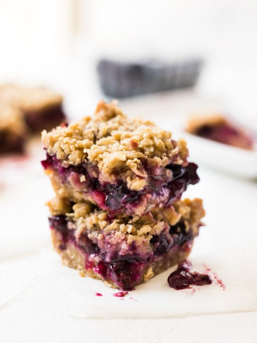 Blueberry Crumble Bars are filled with juicy blueberries and topped with a buttery crumble.