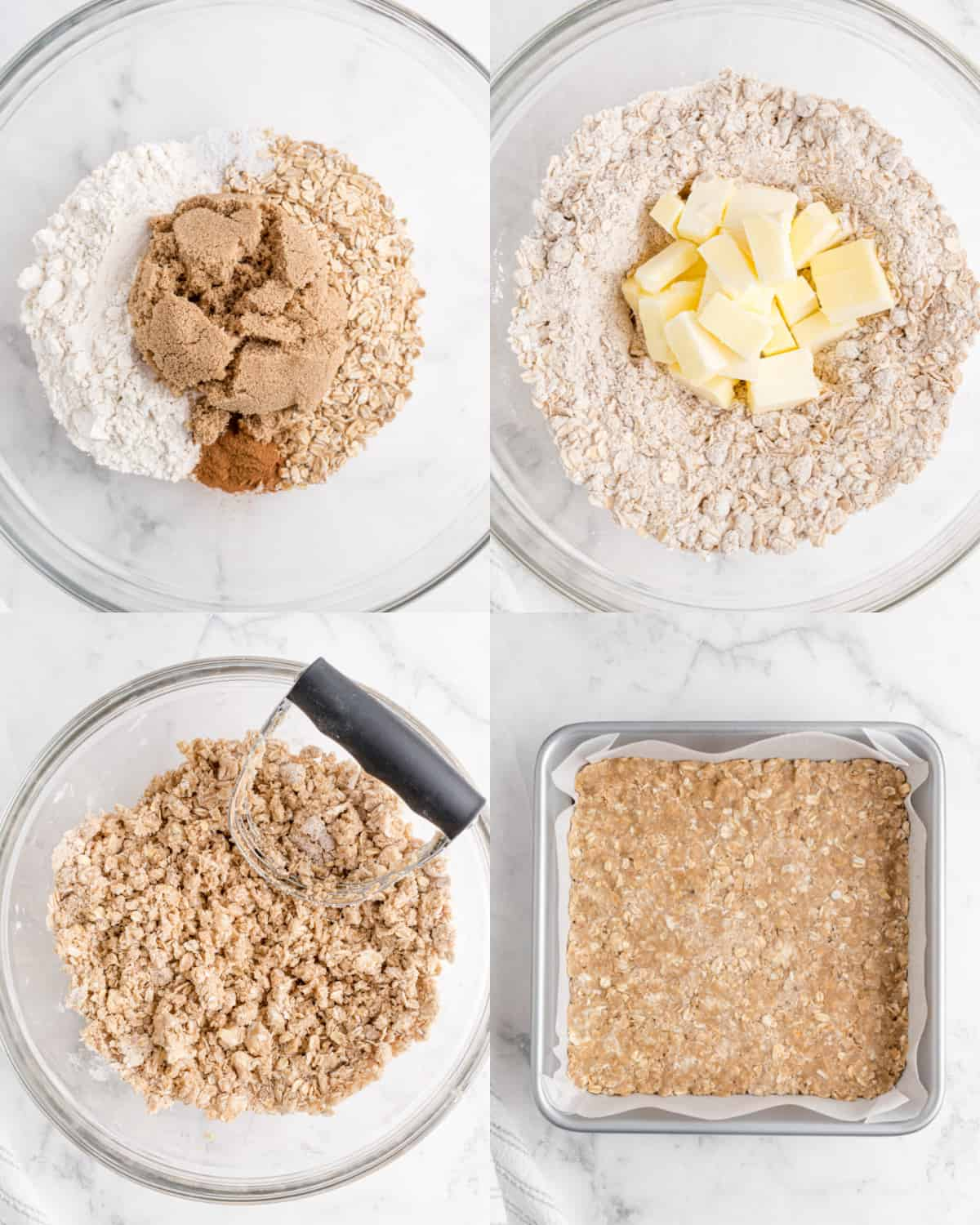 mixing together the ingredients for the crumble topping in a bowl