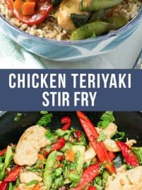 chicken teriyaki stir fry with fresh vegetables piled on top of brown rice in a blue bowl
