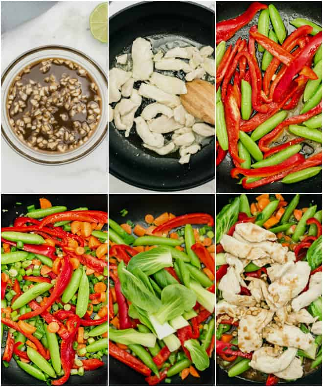adding chicken and vegetables to a black nonstick skillet to stir fry with teriyaki sauce