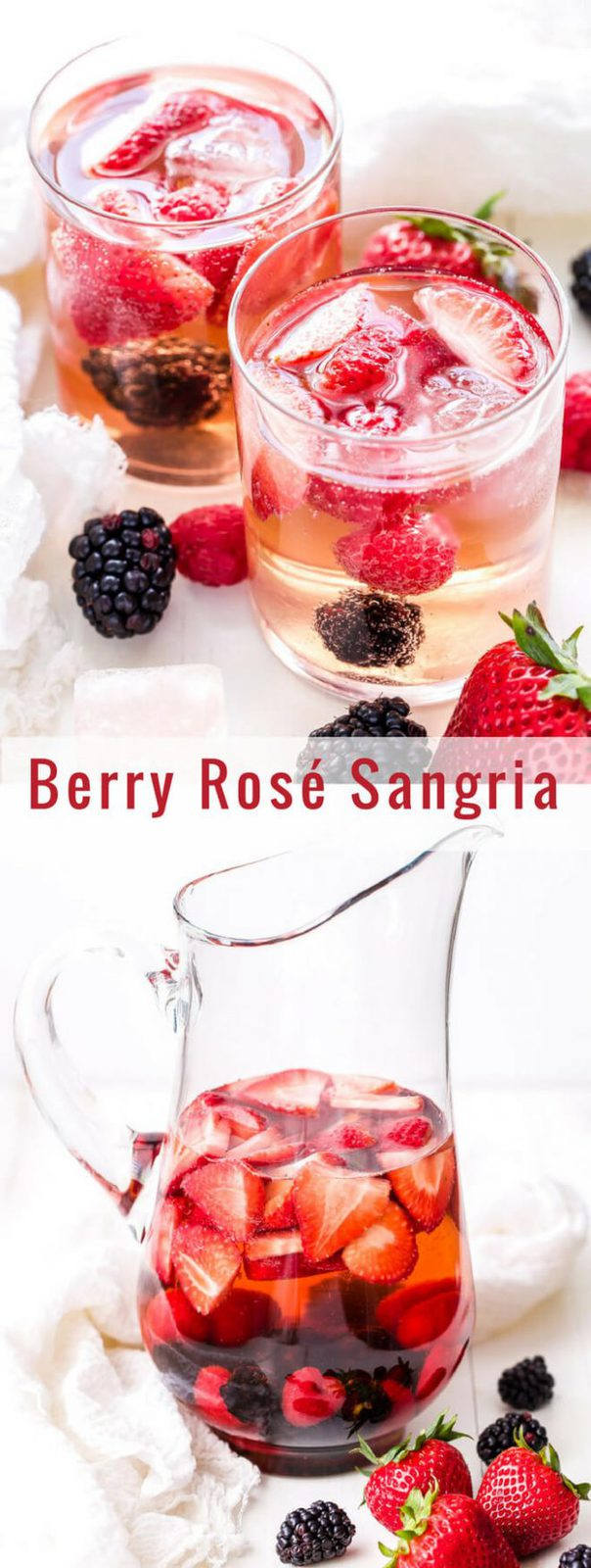 Berry Rosé Sangria is the perfect summer sipper! Sweet, but not too sweet and loaded with tons fresh berries. It will be a hit at all your summer get togethers! #sangria #rosé #berries #drink #cocktail #wine