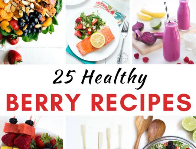 Over 25 Healthy Berry Recipes to enjoy all year long! Add nutrients and fresh berry flavor with these breakfast, lunch, dinner and snack recipes. #healthy #berry #recipes #strawberry #blueberry #raspberry #blackberry