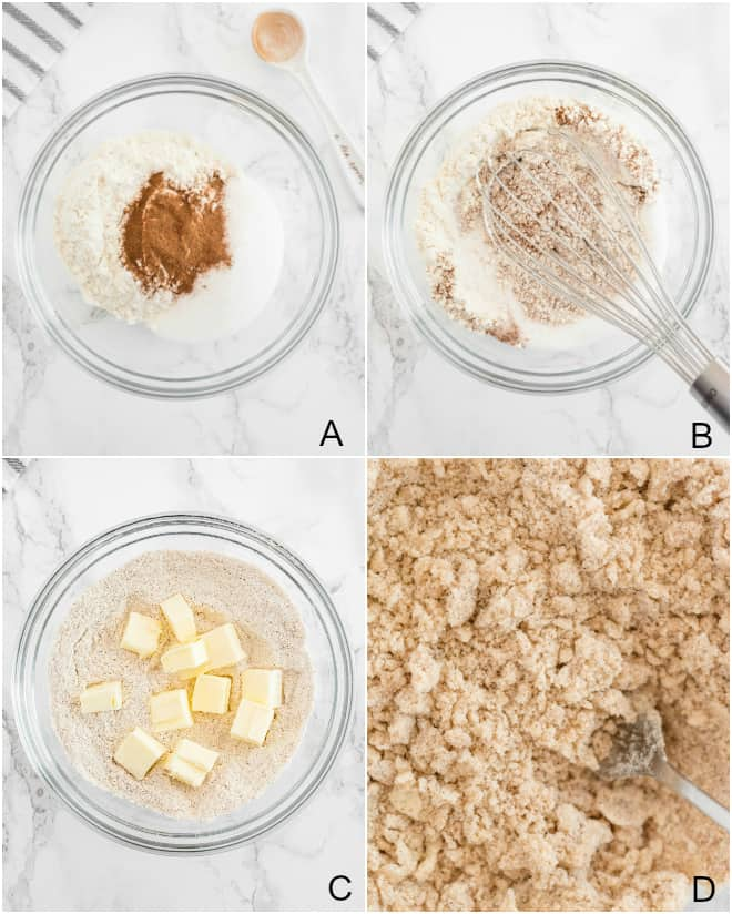 step by step photos to make the crumble topping