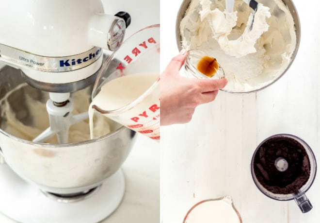 Pour milk and vanilla into a stand mixer