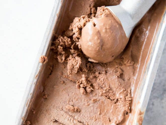 Combine a few easy-to-find ingredients to make this No Churn Coconut Milk Chocolate Ice Cream! It's naturally vegan, gluten free and low carb.  #lowcarb #lowsugar #chocolate #coconutmilk #vegan #icecream #keto #recipe