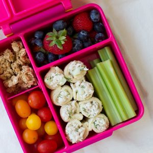 Cucumber Dill Chicken Salad Roll Ups are an easy back-to-school recipe that is perfect to pack in a lunchbox! Combine a few simple ingredients to make this flavorful snack, appetizer or lunch option. #chickensalad #kids #lunch #backtoschool #lunchbox #rollups #schoollunch #healthy #recipe #sandwich