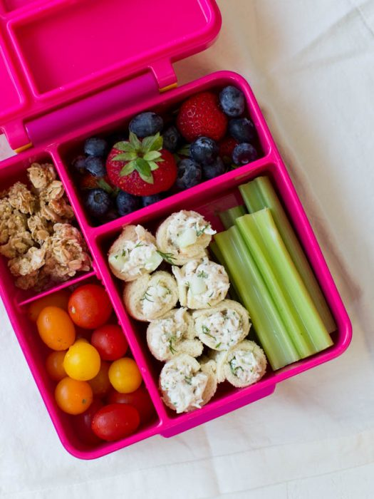 Cucumber Dill Chicken Salad Roll Ups are an easy back-to-school recipe that is perfect to pack in a lunchbox! Combine a few simple ingredients to make this flavorful snack, appetizer or lunch option.#chickensalad #kids #lunch #backtoschool #lunchbox #rollups #schoollunch #healthy #recipe #sandwich