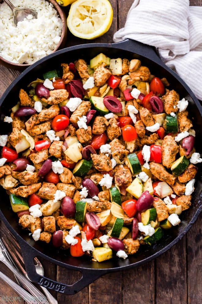 Greek Chicken and Vegetable Skillet with Olives and Feta | @reciperunner