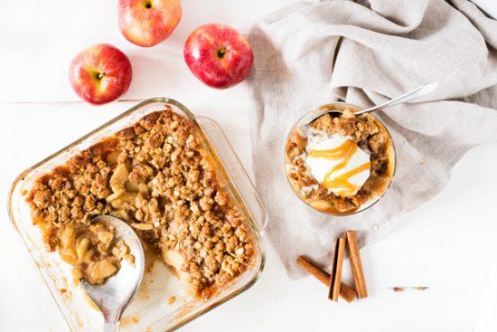 Apple crisp recipe in 8x8 baking dish