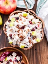 Harvest Chicken Salad is perfect for when you're craving a lighter, healthier meal this fall. Loaded with apples, pears, dried cranberries, pecans and a creamy, tangy Greek yogurt dressing. #chickensalad #fallrecipe #healthydinner #chicken #greekyogurt