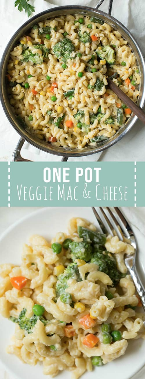 Pan of veggie mac and cheese