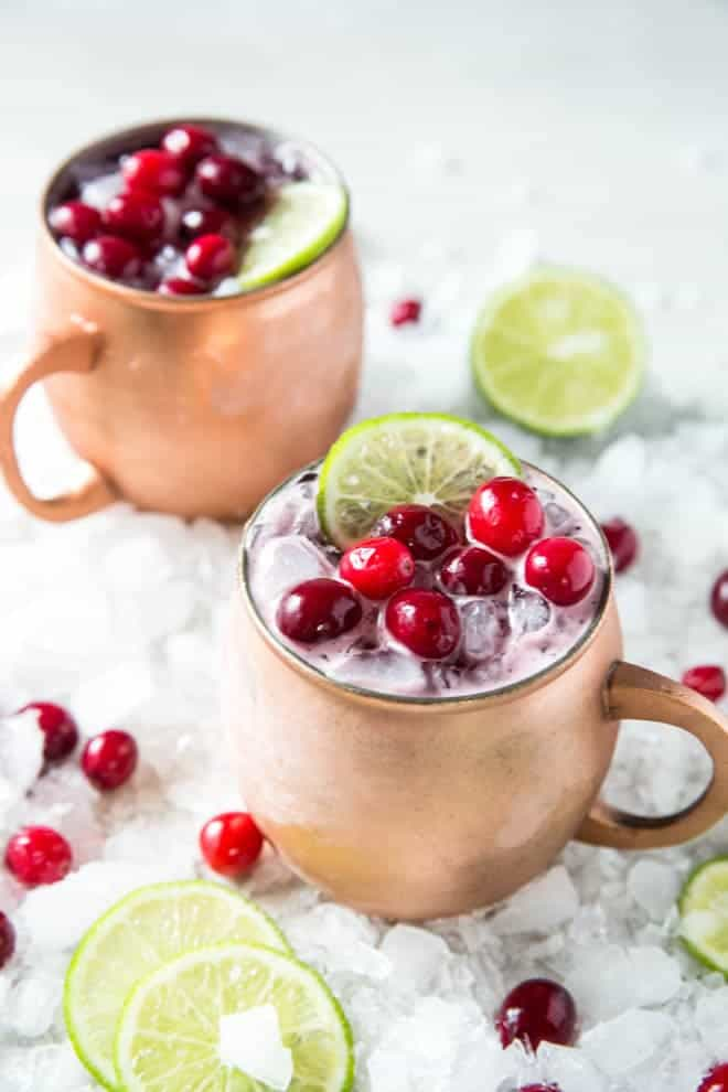 Shake up a Cranberry Moscow Mule and serve this festive holiday cocktail at your next dinner party or holiday celebration! #cranberry #moscow #mule #drink #recipe
