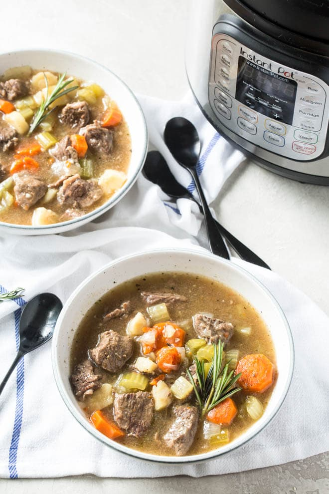 Instant Pot Beef Stew is the perfect comfort food without all of the carbs. This low carb stew is made in the instant pot to make prep and clean up easy. #instantpot #beefstew #recipe #lowcarb #healthy #dinner #recipe #vegetable #stew