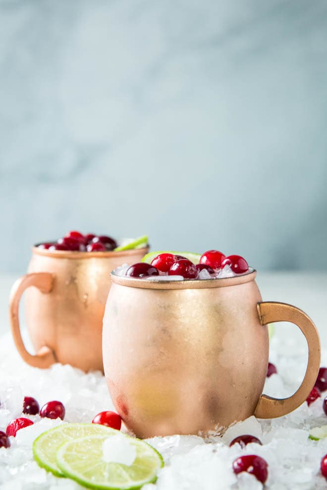 Shake up a Cranberry Moscow Mule and serve this festive holiday cocktail at your next dinner party or holiday celebration! #cranberry #moscow #mule #drink #recipe #cocktail