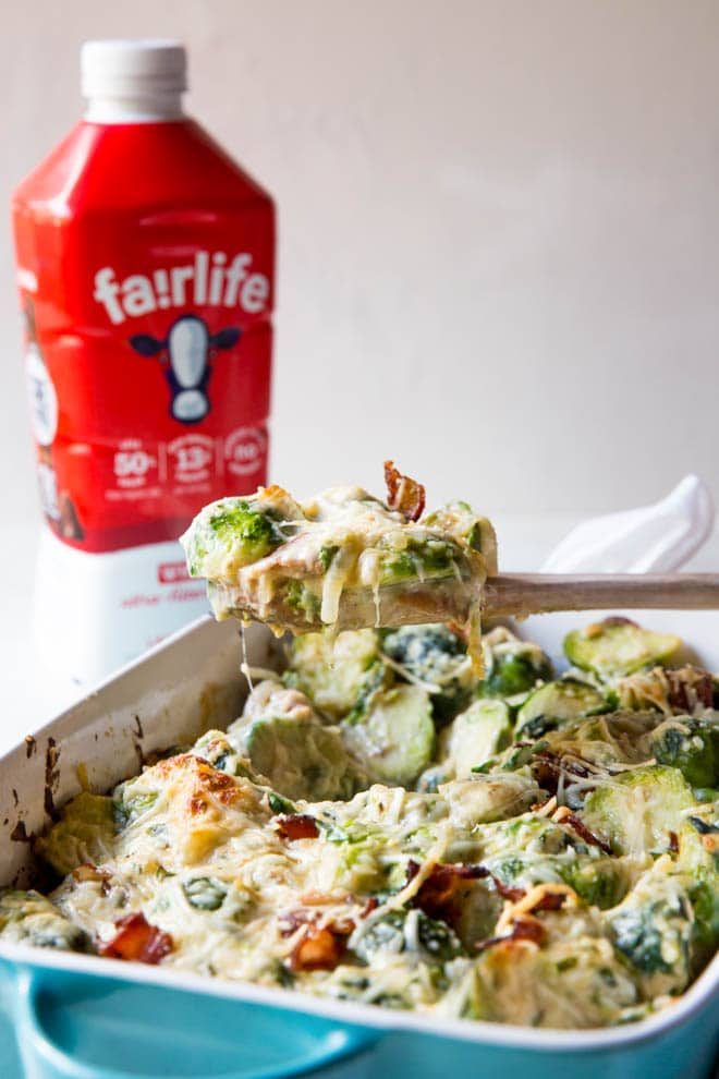 Brussels sprouts au gratin is a simple side dish with creamy texture and cheesy flavor! It's packed with nutrients like protein, fiber and more. The side dish is perfect for the holidays or any time of the year. #brussels #sprouts #sidedish #holiday #thanksgiving #casserole #dinner #recipe #fairlife