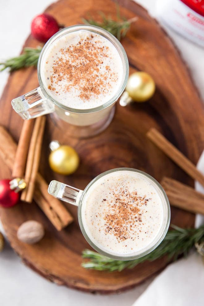 Homemade eggnog is the perfect holiday drink! This classic recipe is the made with the freshest ingredients to create the best tasting eggnog that cooks in less than 15 minutes. #eggnog #homemade #recipe #drink #holiday #cocktail #classic #oldfashioned
