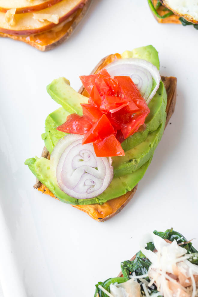 Sweet potato toast is an easy breakfast, lunch, snack or dinner option! Bake the sweet potato in the oven or toaster, top with your favorite ingredients and enjoy. #sweetpotato #toast