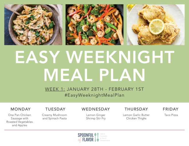 Our Easy Weeknight Meal Plans feature full recipe, details, photo, instructions and shopping list for five easy weeknight meals each week. In addition, we include recipes for breakfast, lunch and snack. Each recipe comes with an individual shopping list in addition to one large shopping list for all of the recipes. #weeknight #mealplan #recipe #printable #meal #plan #download