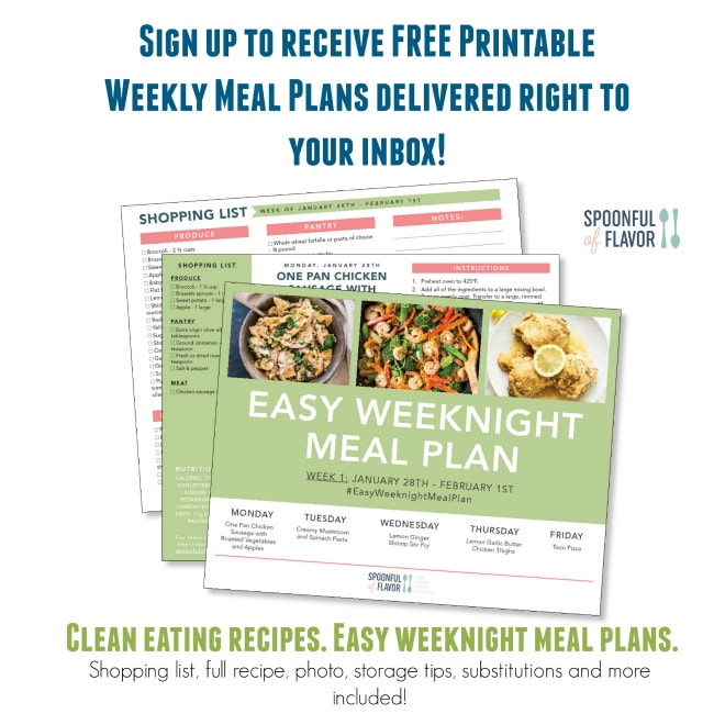 Clean eating meal plan recipes delivered to your inbox each week featuring full recipe details, shopping list and more.