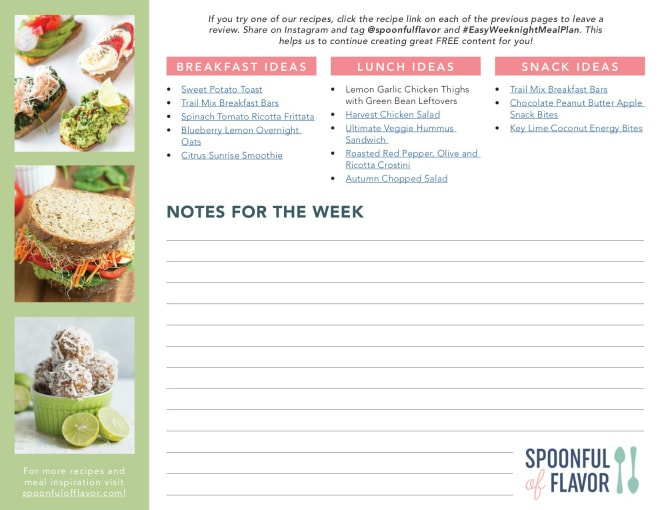Clean eating meal plan with five new dinner recipes each week with full recipe details and shopping list. Also includes breakfast, lunch and snack recipe ideas for the week. #weekly #mealplan #recipe #printable #cleaneating