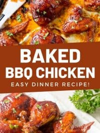 oven baked bbq chicken on a sheet pan
