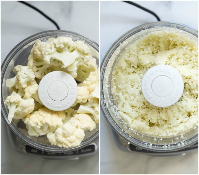 Cauliflower in a food processor ready to be riced.