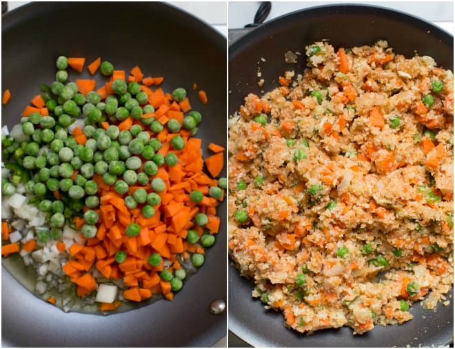 Diced carrots, onion, jalapeno and peas are in a nonstick skillet.