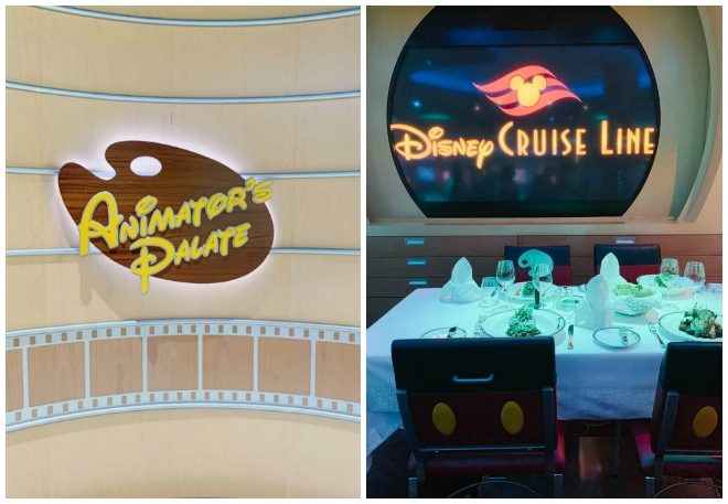 Animator's Palate Restaurant table with white tablecloth and black chairs.