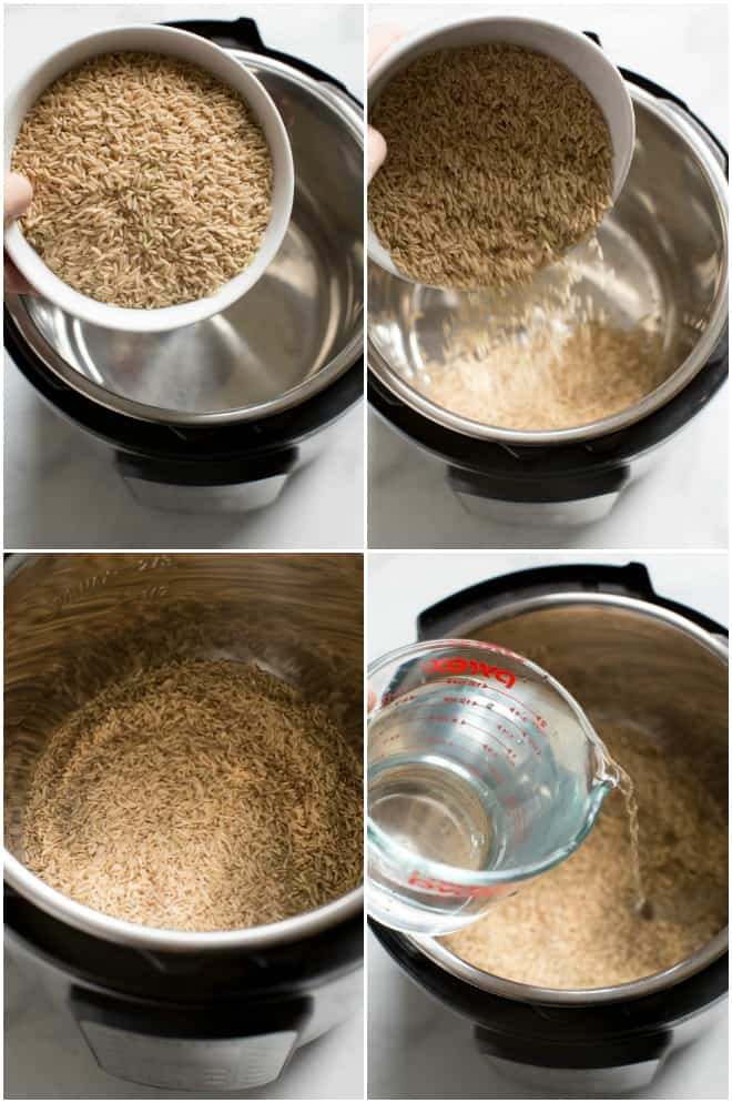 Step by step photos for how to cook brown rice in the instant pot.