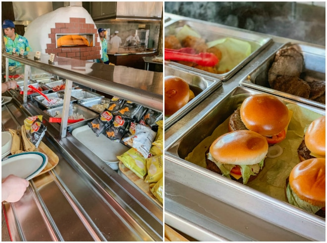 Burgers at the lunch bbq buffet on Castaway Cay.
