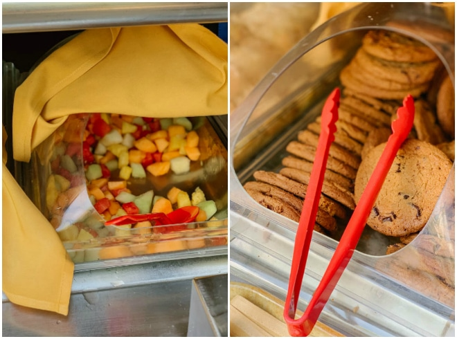 A fruit salad and cookies at the bbq at Castaway Cay.