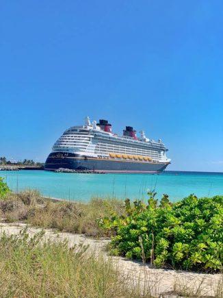 Disney dream cruise ship docked at Castaway Cay.