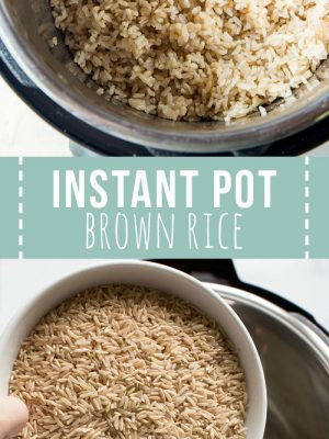 Instant pot filled with brown rice
