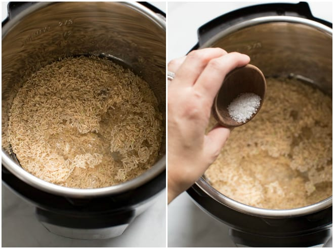 An instant pot filled with brown rice and water.