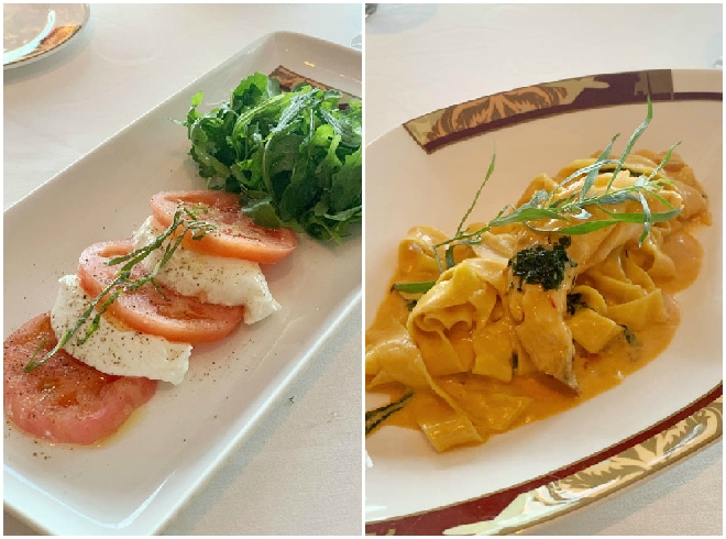 A caprese salad with lobster paparedelle on the right.