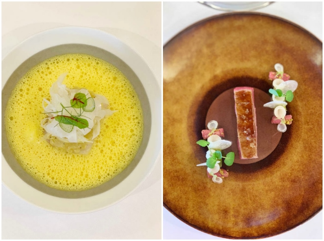 A bowl of yellow soup on the left and a plate with sliced beef and decorative flowers on the right.