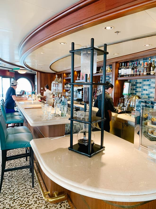 Picture of a cafe on a cruise ship.