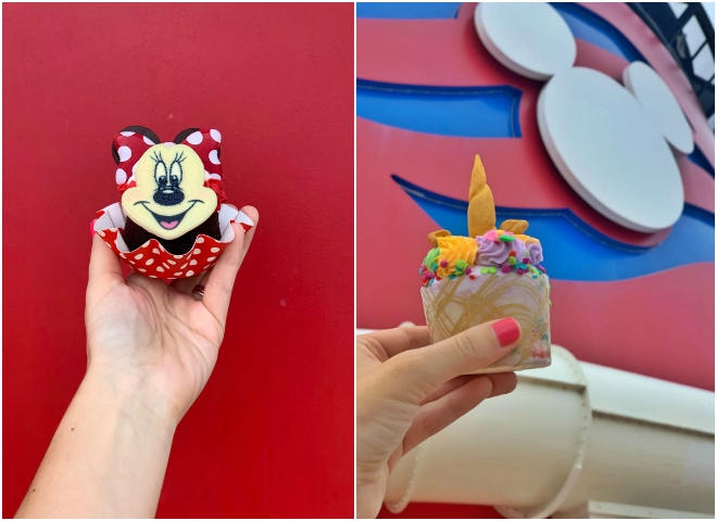 Minnie red velvet cupcake and unicorn cupcake.