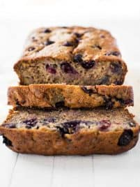 Slice of blueberry banana bread