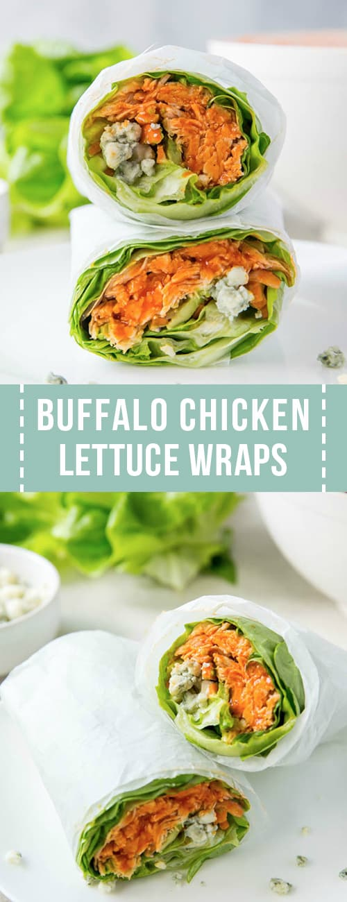 Two buffalo chicken lettuce wraps in a collage