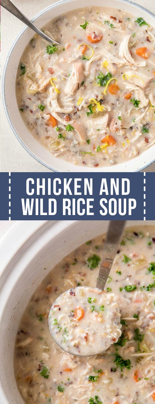 A large bowl of chicken wild rice soup.