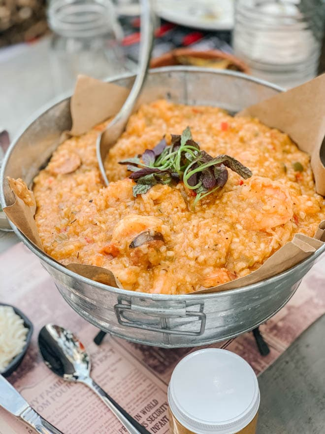 shrimp jambalaya in a large tin bowl