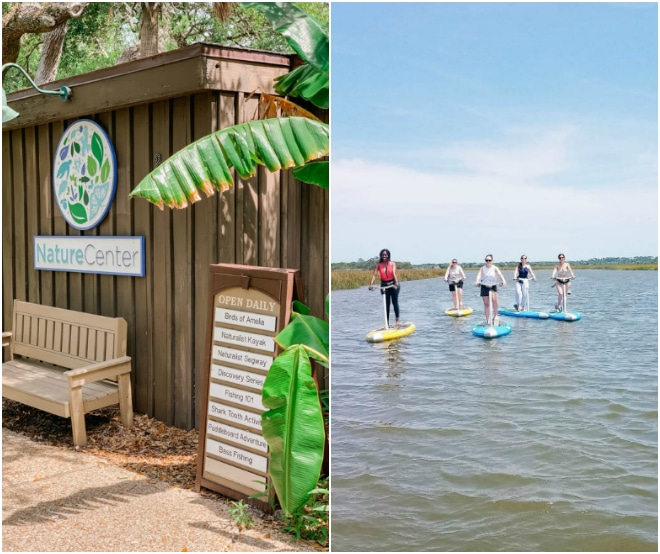 Photo of the outside of the nature center and paddleboarding at Omni Amelia Island