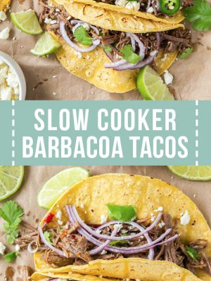 Slow Cooker barbacoa beef tacos served for dinner.