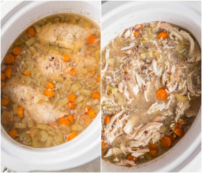 Whole cooked chicken breasts in chicken broth with rice and other vegetables.