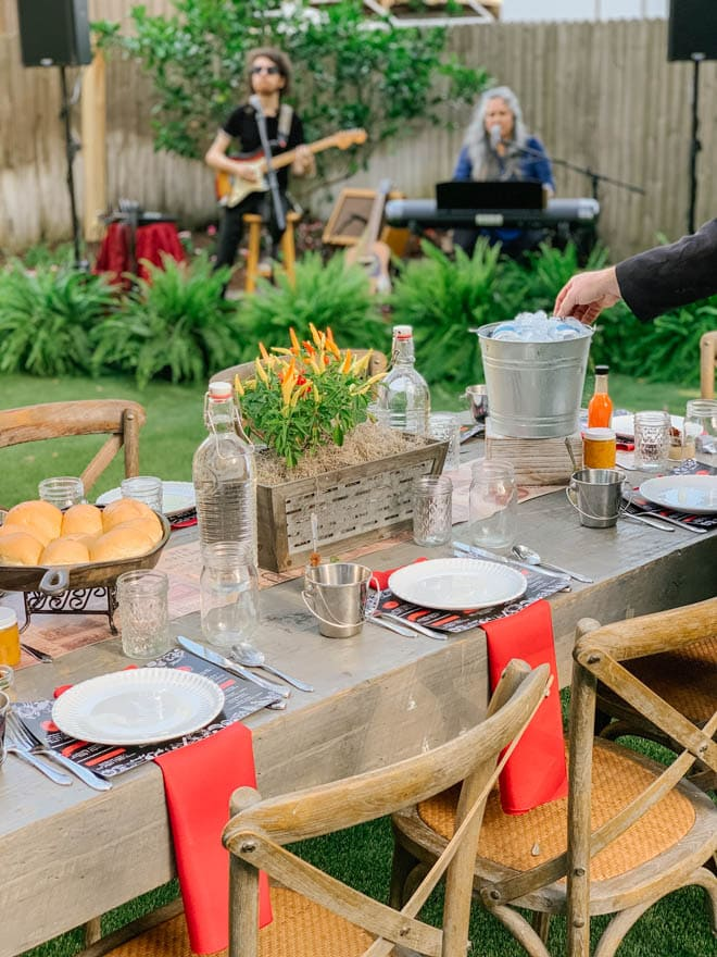 Table setting in front of a band.